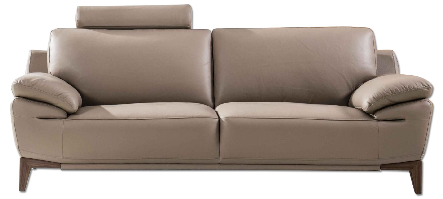 Mid-Century Style Sofa with An Adjustable Headrest in Taupe Genuine Leather w/ Matching Faux Leather