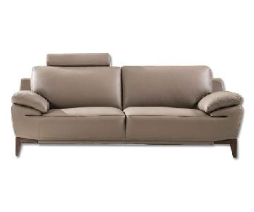 Mid-Century Style Loveseat with An Adjustable Headrest in Taupe Genuine Leather w/ Matching Faux Leather