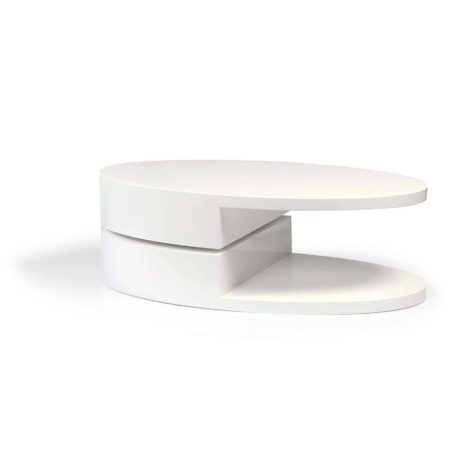 Modern High Gloss White Coffee Table w/ Swivel top