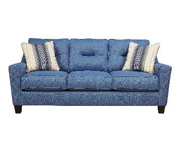 Ashley's 3 Seater Contemporary Fabric Sofa in Blue