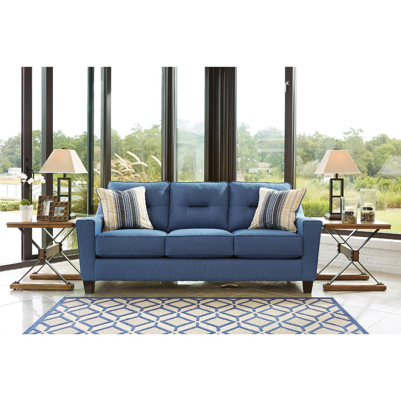 Ashley S 3 Seater Contemporary Fabric Sofa In Blue Aptdeco