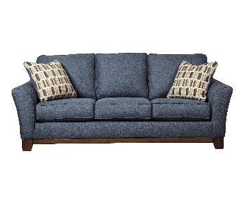 Ashley's Janley 3 Seater Contemporary Fabric Sofa in Blue