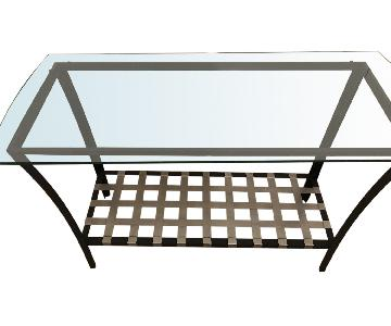 Two-Tiered Glass Top Media Console Table