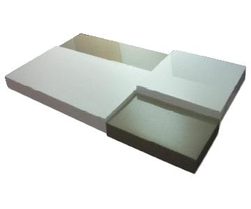 Modern Multi-Tiered Coffee Table in High Gloss White & Light Brown Finish