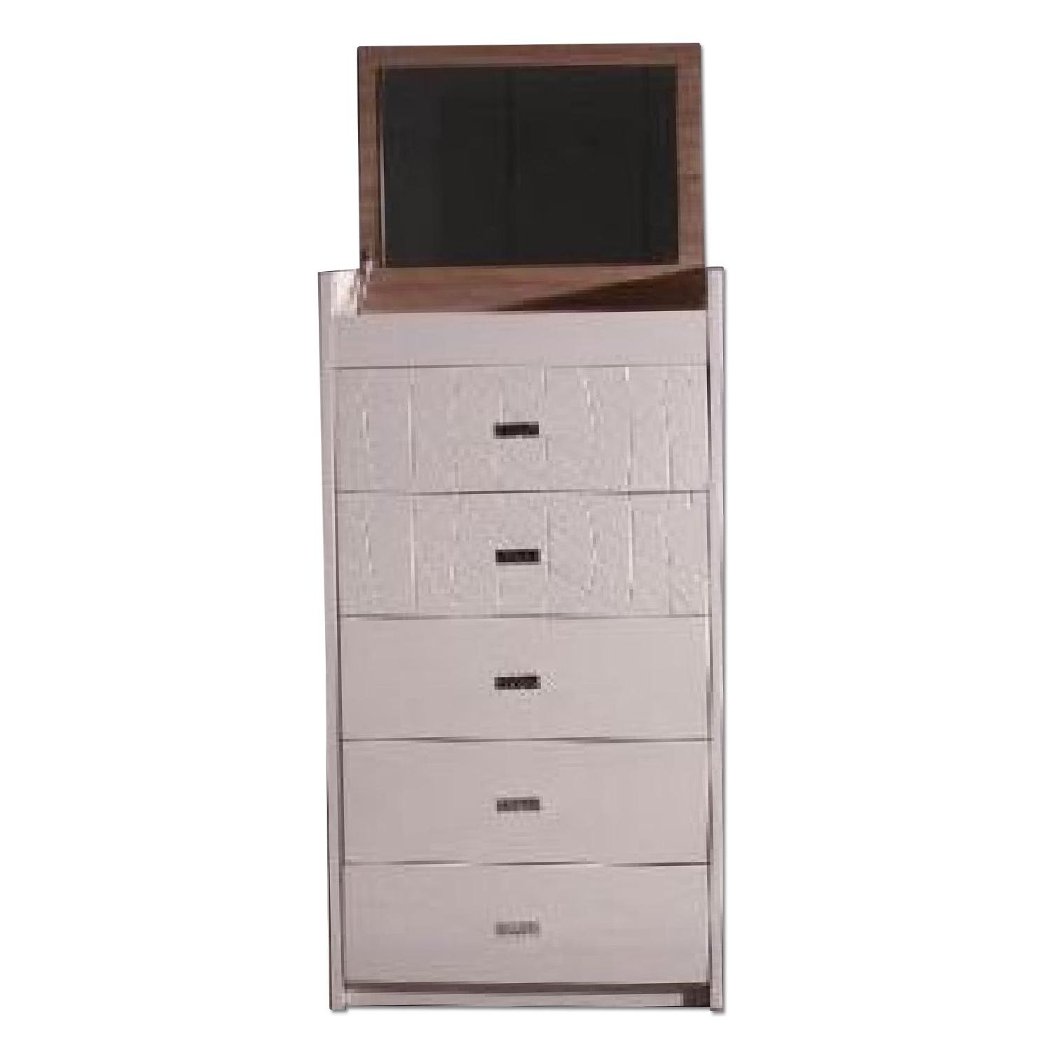 5-Drawer Chiffonier in Beige High Gloss Finish w/ Fold-Up Mirror & Jewelry Storage Compartments