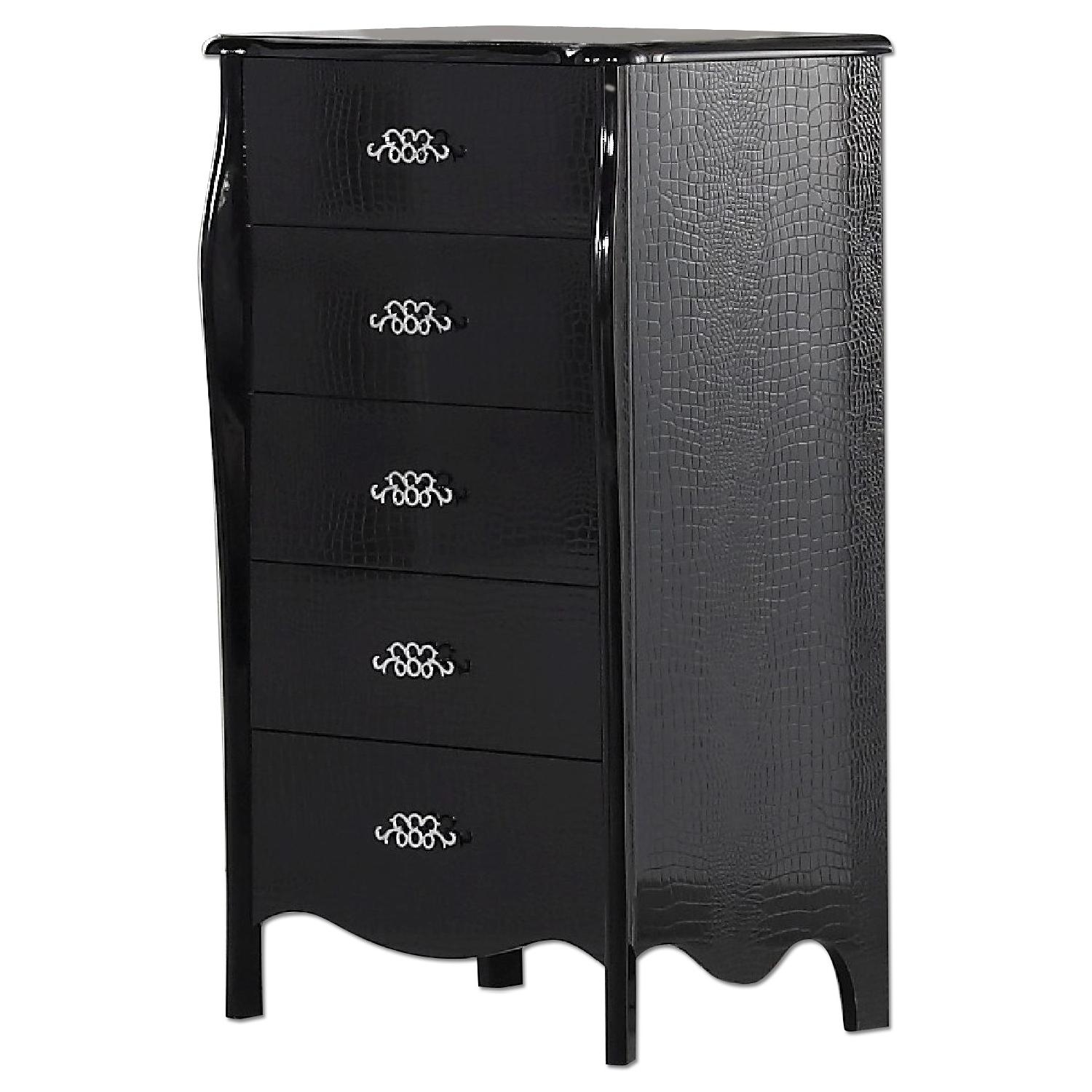 Neo-Classical Style 5-Drawer Chest in High Gloss Black Finish w/ Crocodile Patterns
