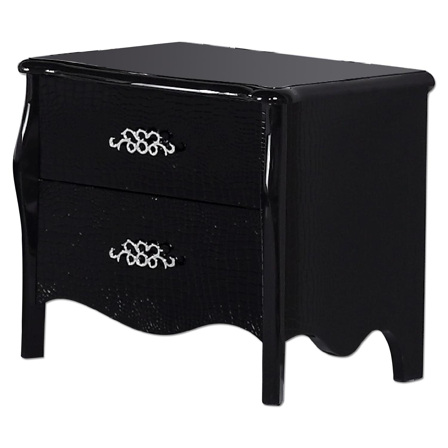 Neo-Classical Style 2-Drawer Nightstand in High Gloss Black Finish w/ Crocodile Patterns