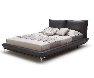 Queen Size Modern Full Leather Platform Bed w/ Padded Headbo