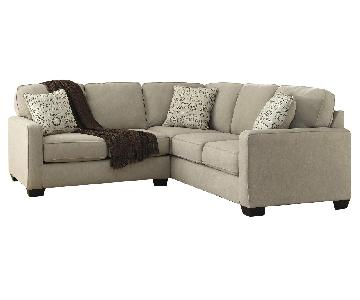 Ashley's Alenya 2 Piece Contemporary Fabric Sectional in Khaki