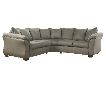 Ashley's 2 Piece Contemporary Fabric Sectional in Gray/Cobblestone