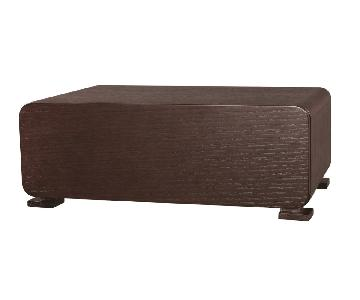 Modern 1-Drawer Low-Profile Nightstand in Wenge Finish w/ Curved Corners