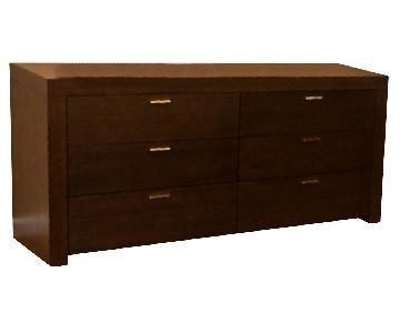 Modern 6-Drawer Dresser in Dark Walnut Finish w/ Solid Steel Accent Handles