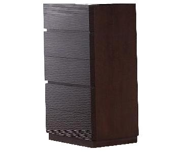 Modern 5-Drawer Chest in Wenge Finish w/ Line-Etched Drawer Face Design