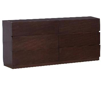 Modern 6-Drawer Dresser in Wenge Finish w/ Line-Etched Drawer Face Design