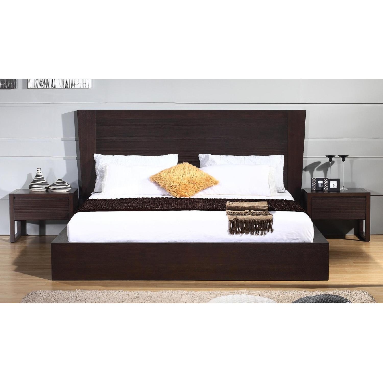 King Size Modern Platform Bed In Wenge W Lined Etched