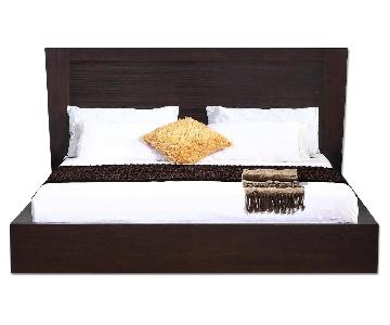 King Size Modern Platform Bed in Wenge w/ Lined Etched Headb
