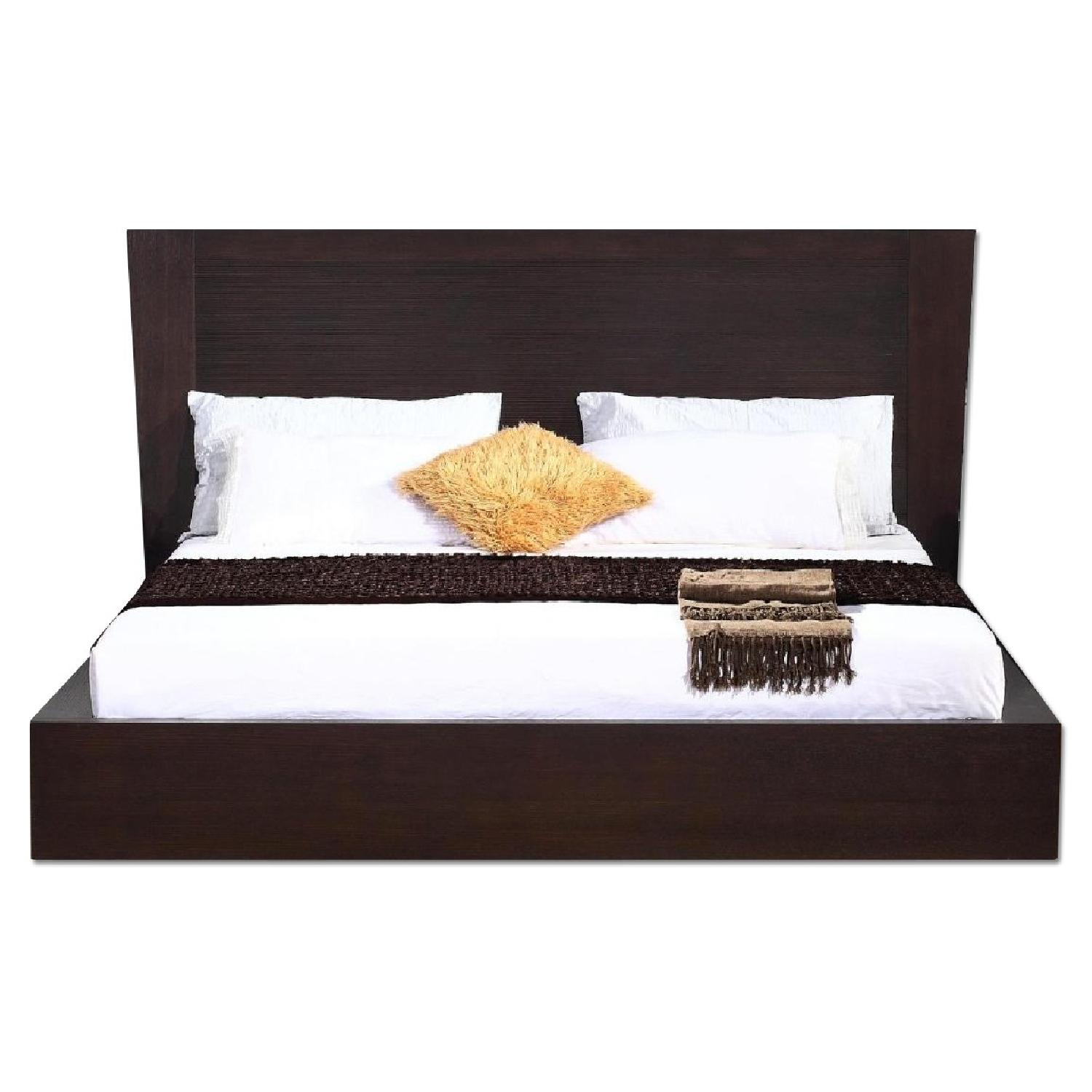 Queen Size Modern Platform Bed in Wenge w/ Lined Etched Headboard