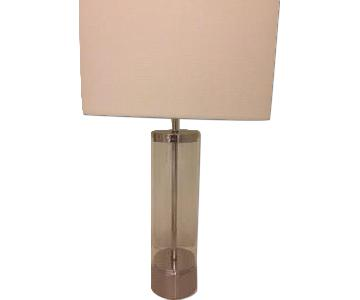 West Elm Acrylic Column Table Lamp in Polished Nickel