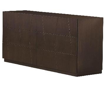 Modern 6-Drawer Dresser in Wenge Finish w/ Etched Diamond Motif Drawer Faces