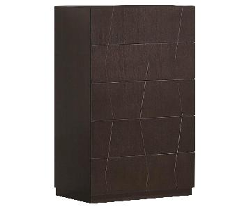 Modern 5-Drawer Chest in Wenge Finish w/ Etched Diamond Motif Drawer Faces