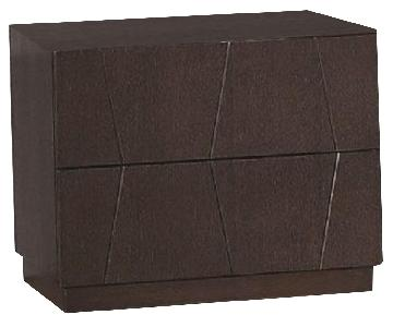 Modern 2-Drawer Nightstand in Wenge Finish w/ Etched Diamond Motif Drawer Faces