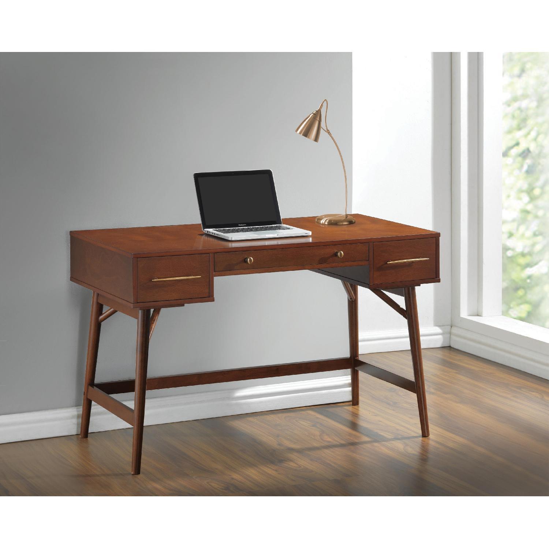 Mid-Century Modern Writing Desk in Walnut Finish - image-2