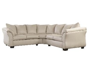 Ashley's Darcy 2 Piece Contemporary Fabric Sectional in Ivory