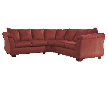Ashley's Darcy 2 Piece Contemporary Fabric Sectional in Red
