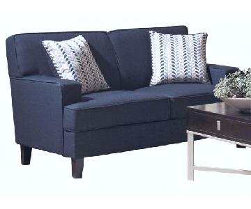 Ink-Blue Fabric Loveseat w/ Pocket-Coil Cushions & Accent Pillows
