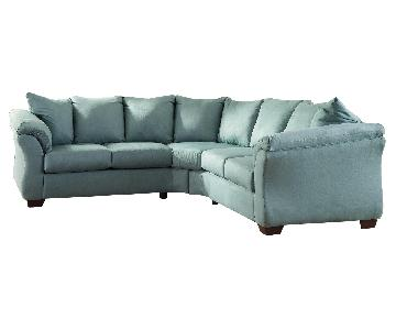 Ashley's Darcy 2 Piece Contemporary Fabric Sectional in Blue