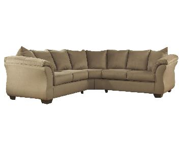 Ashley's Darcy 2 Piece Contemporary Fabric Sectional in Mocha