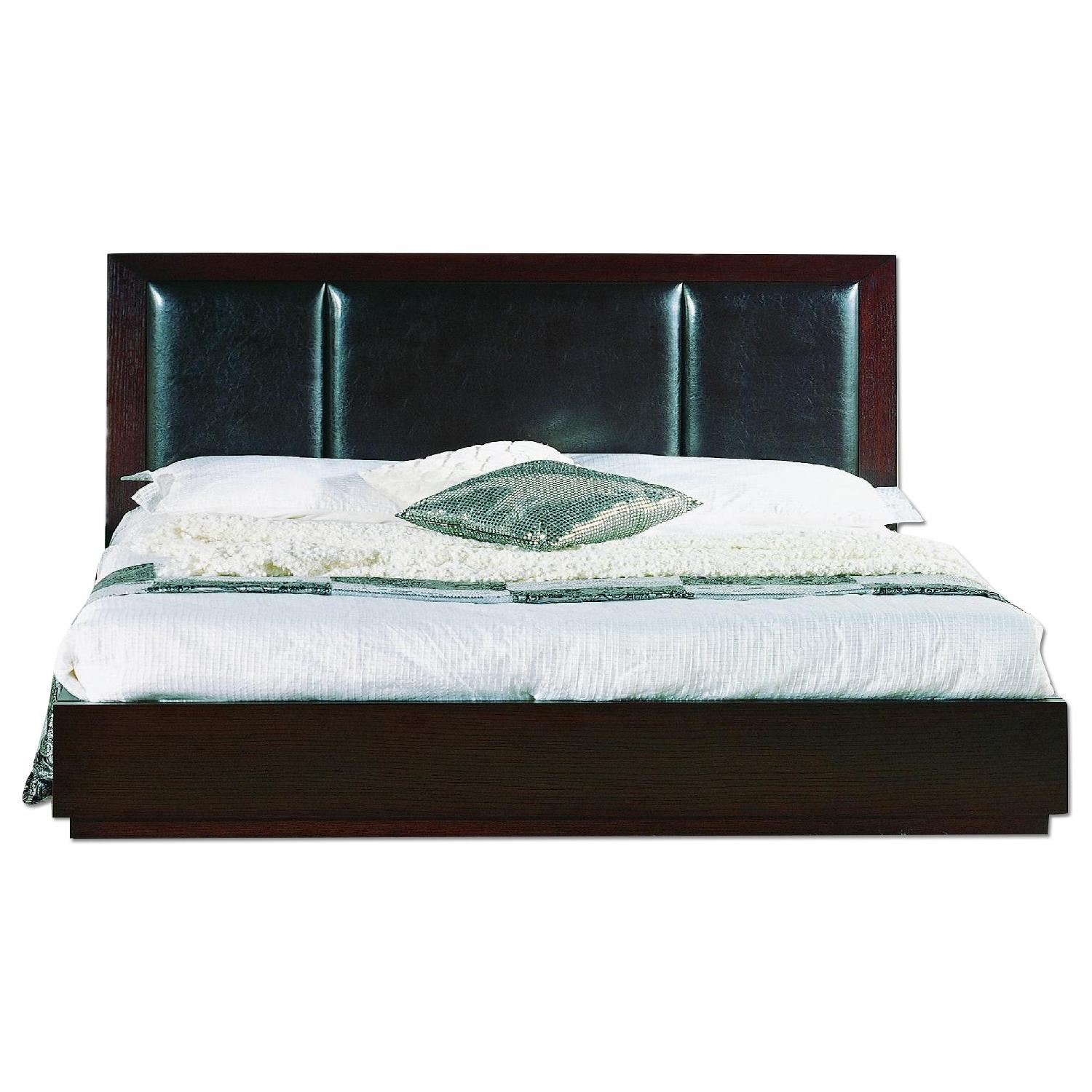 King Size Modern Platform Bed in Wenge Finish w/ 6 Storage Drawers & Padded PU Headboard