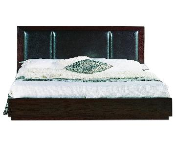 King Size Modern Platform Bed in Wenge Finish w/ 6 Storage D