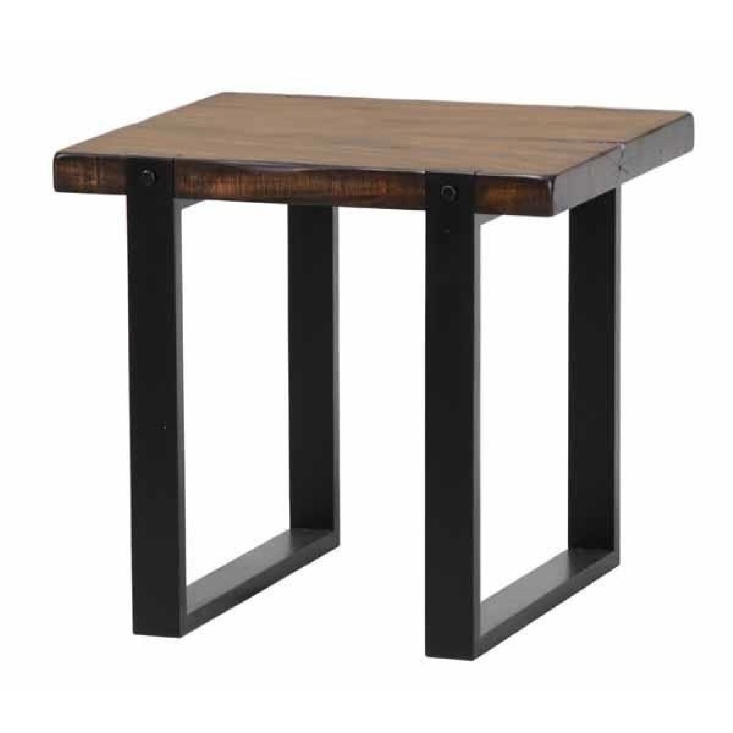 Urban Style End Table w/ Mahogany Solids & Finished in Two-Tone Vintage Brown & Black