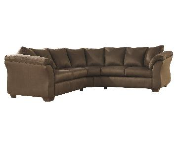Ashley's Darcy 2 Piece Contemporary Sectional in Fabric Cafe