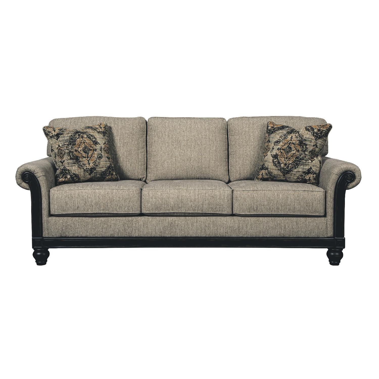 ashley 39 s blackwood 3 seater fabric sofa in taupe aptdeco. Black Bedroom Furniture Sets. Home Design Ideas
