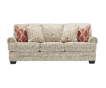 Ashley's Sansimeon 3 Seater Contemporary Fabric Sofa in Ligh