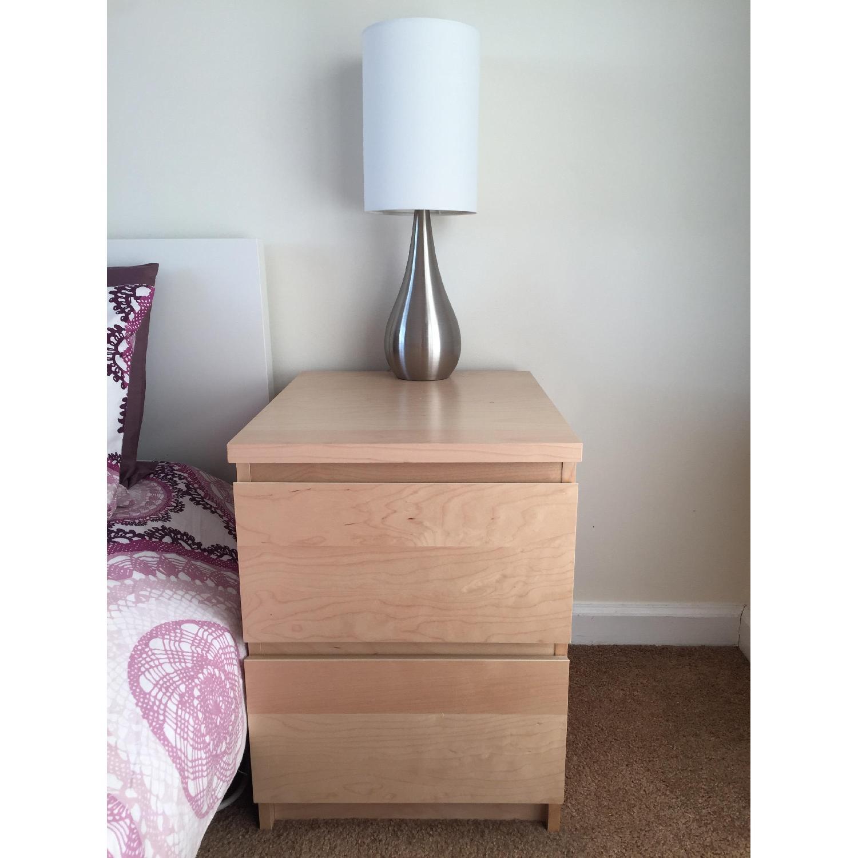 Ikea Malm White Stained Oak Veneer 2 Drawer Chest Aptdeco