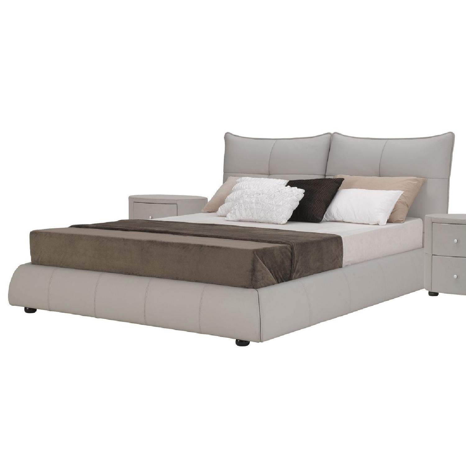 King Size Platform Bed in Full Premium Light Grey Leather w/ Padded Headboard