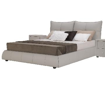 King Size Platform Bed in Full Premium Light Grey Leather w/
