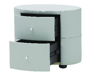 Oval 2-Drawer Nightstand in Full Premium Light Grey Leather