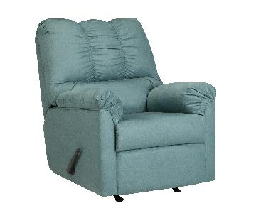 Ashley's Darcy Contemporary Microfiber Fabric Recliner in Light Blue