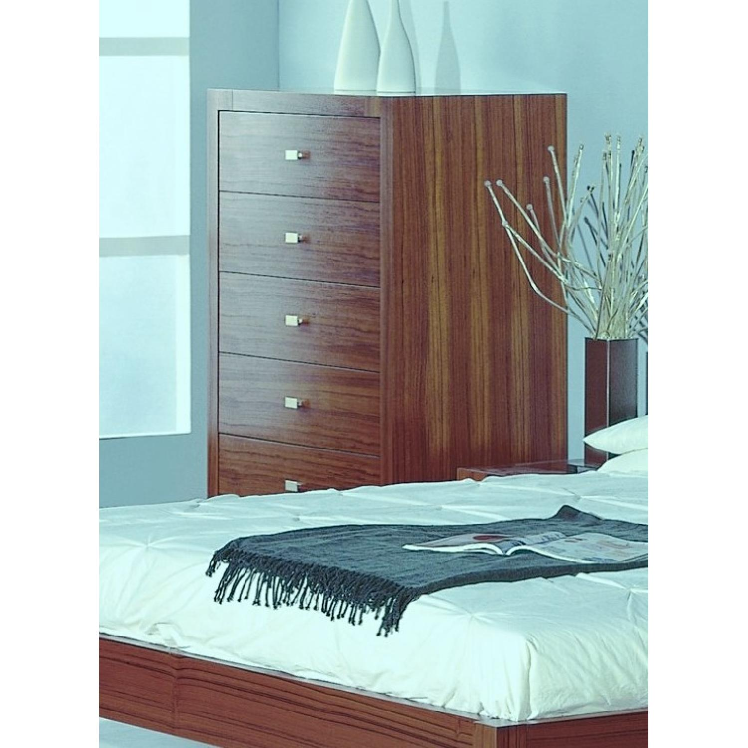 Modern 6-Drawer Chest in Walnut Finish w/ Brushed Nickel Handles