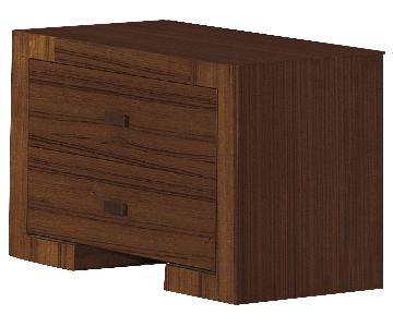 Modern 2-Drawer Nightstand in Walnut Finish w/ Brushed Nickel Handles