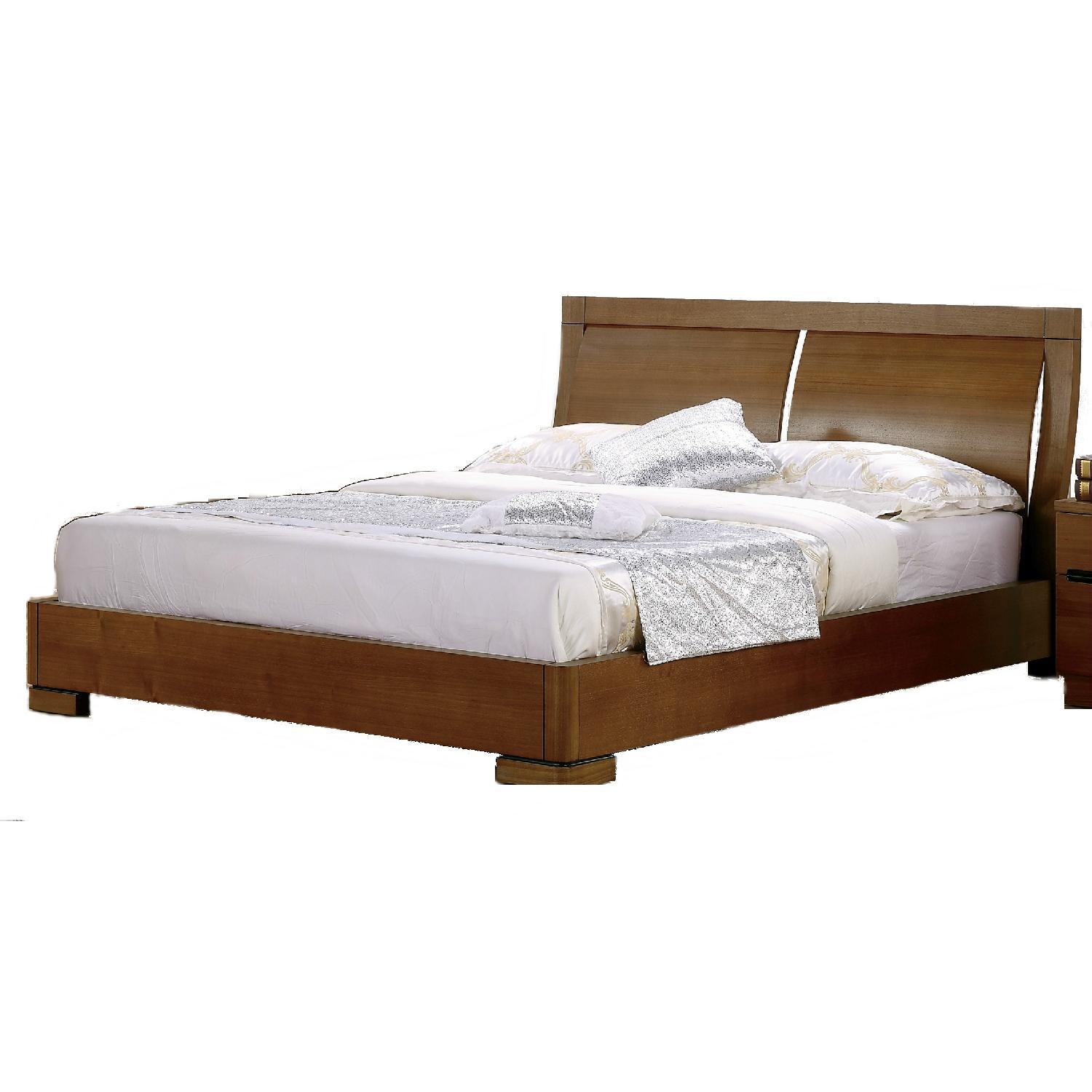 Modern King Size Platform Bed in Teak Finish With Clean-Line Design & Slightly Curved-Out Headboard