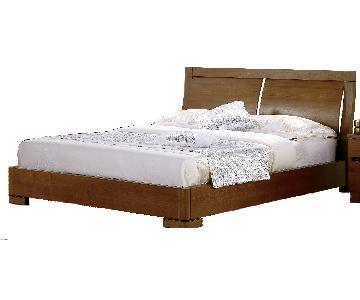 Modern King Size Platform Bed in Teak Finish With Clean-Line