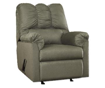 Ashley's Darcy Microfiber Contemporary Recliner in Green/Sage