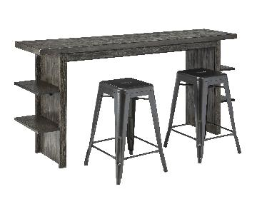 Ashley's Lamoille Long Counter Height Wooden Table w/ 4 Pinn