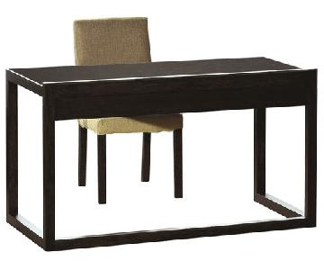 Modern Style Writing Desk in Wenge Finish w/ Middle Utility Drawer
