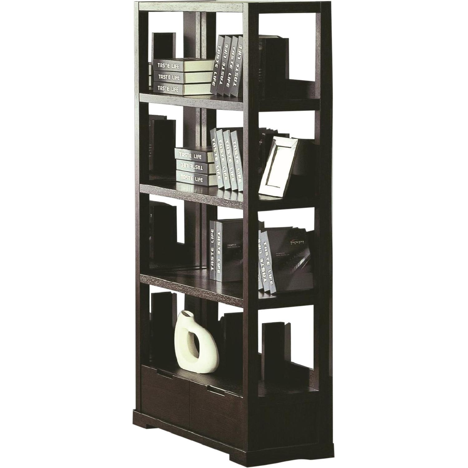 Modern Style Bookcase in Wenge Finish w/ Bottom Utility Drawer